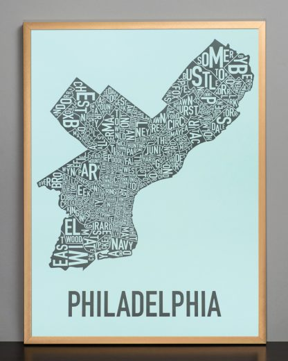 "Framed Philadelphia Neighborhood Map Poster, Light Blue & Grey, 18"" x 24"" in Bronze Frame"