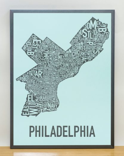 "Framed Philadelphia Neighborhood Map Poster, Light Blue & Grey, 18"" x 24"" in Steel Grey Frame"
