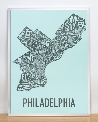 "Framed Philadelphia Neighborhood Map Poster, Light Blue & Grey, 18"" x 24"" in Silver Frame"