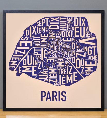 "Framed Paris Neighborhood Map Poster, Cream & Indigo, 18"" x 18"" in Black Frame"