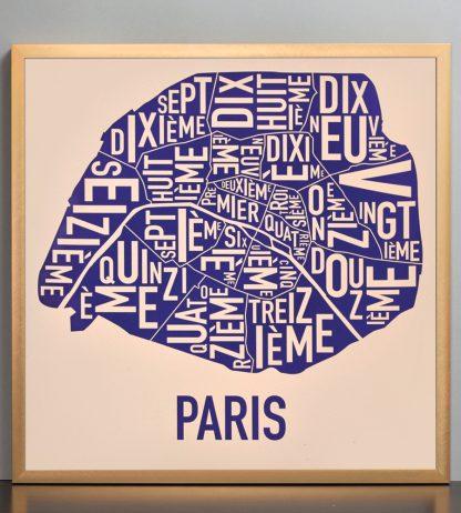 "Framed Paris Neighborhood Map Poster, Cream & Indigo, 18"" x 18"" in Bronze Frame"