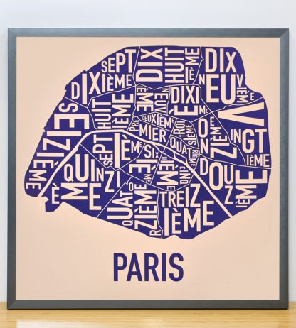 "Framed Paris Neighborhood Map Poster, Cream & Indigo, 18"" x 18"" in Steel Grey Frame"