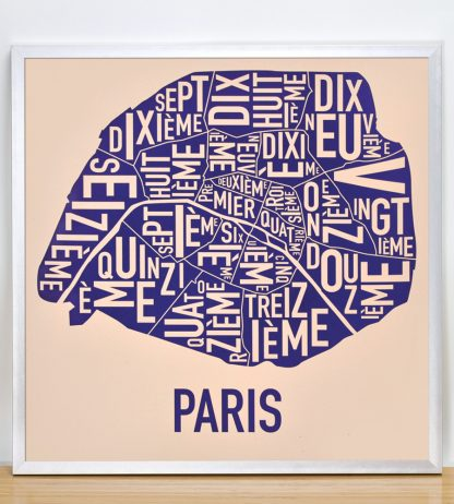 "Framed Paris Neighborhood Map Poster, Cream & Indigo, 18"" x 18"" in Silver Frame"