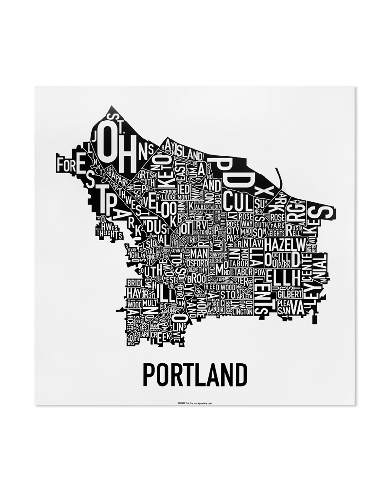 Portland neighborhood map 12 5″ x 12 5″ classic black white poster
