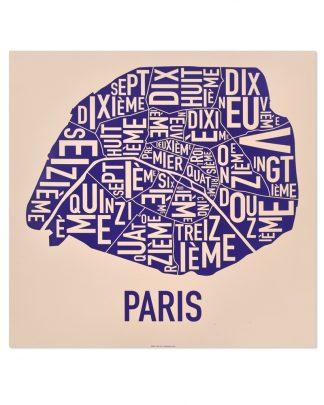 "Paris Arrondissements Map, Cream & Purple, 18"" x 18"""