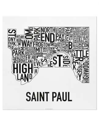 "St Paul Neighborhood Map Poster, Classic B&W, 20"" x 20"""