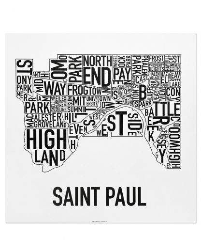 "St Paul Neighborhood Map Poster, Classic B&W, 20"" x 20"""