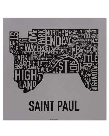 "St Paul Neighborhood Map Screenprint, Grey & Black, 20"" x 20"""