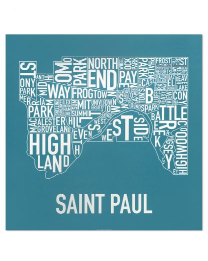 "St Paul Neighborhood Map Poster, Teal & White, 20"" x 20"""