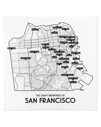 "San Francisco Craft Breweries Map, 12.5"" x 12.5"", 2018 Edition"