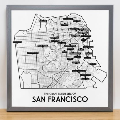 "Framed San Francisco Craft Breweries Map, 12.5"" x 12.5"", 2018 Edition in Steel Grey Frame"