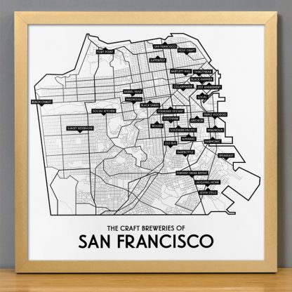 "Framed San Francisco Craft Breweries Map, 12.5"" x 12.5"", 2018 Edition in Bronze Frame"