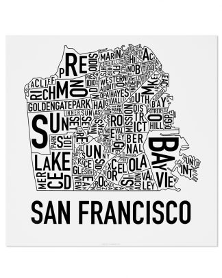 "San Francisco Neighborhood Map Poster, Classic B&W, 18"" x 18"""