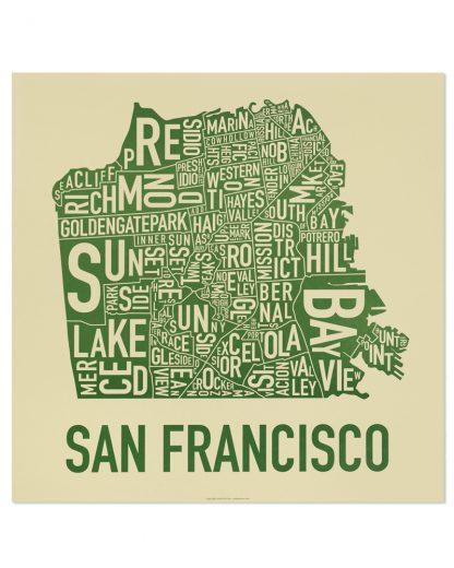 "San Francisco Neighborhood Map Poster, Tan & Green, 18"" x 18"""