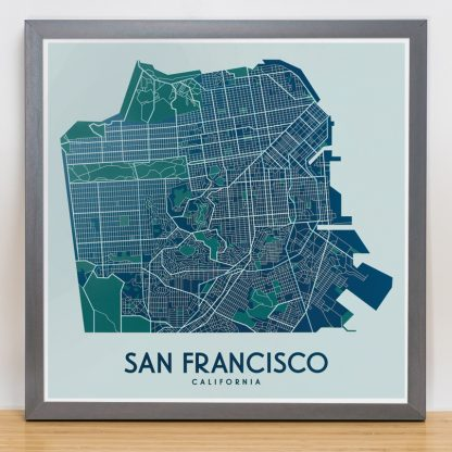 "Framed San Francisco Street Map, 12.5"" x 12.5"", Aqua/Teal/Green in Steel Grey Frame"