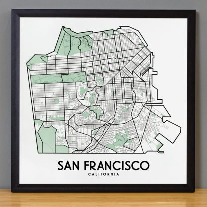 "Framed San Francisco Street Map, 12.5"" x 12.5"", White & Green in Black Frame"