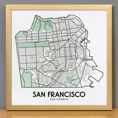 "Framed San Francisco Street Map, 12.5"" x 12.5"", White & Green in Bronze Frame"