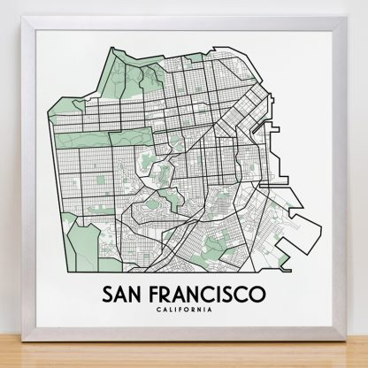 "Framed San Francisco Street Map, 12.5"" x 12.5"", White & Green in Silver Frame"