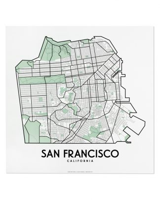 """San Francisco Street Map, 12.5"""" x 12.5"""", White & Green"""