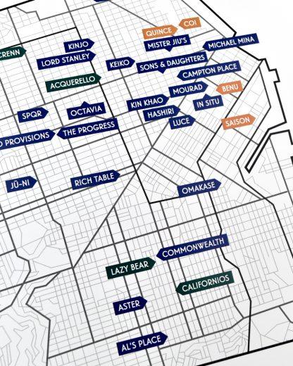 "San Francisco Michelin Star Restaurant Map, 12.5"" x 12.5"", 2018 Edition"