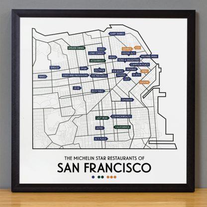 "Framed San Francisco Michelin Star Restaurant Map, 12.5"" x 12.5"", 2018 Edition in Black Frame"