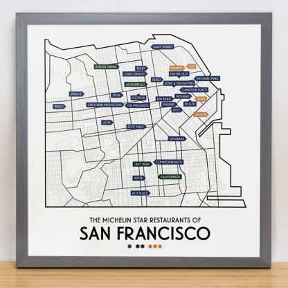 "Framed San Francisco Michelin Star Restaurant Map Poster, 12.5"" x 12.5"", 2018 Edition in Steel Grey Frame"