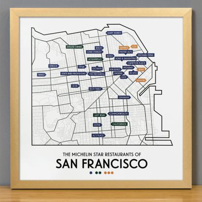 "Framed San Francisco Michelin Star Restaurant Map, 12.5"" x 12.5"", 2018 Edition in Bronze Frame"