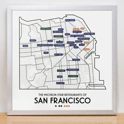 "Framed San Francisco Michelin Star Restaurant Map, 12.5"" x 12.5"", 2018 Edition in Silver Frame"