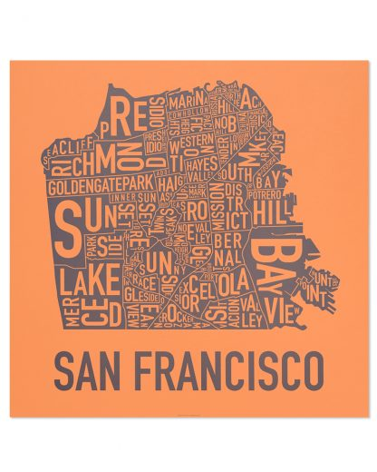 "San Francisco Neighborhood Map Poster, Orange & Grey, 18"" x 18"""