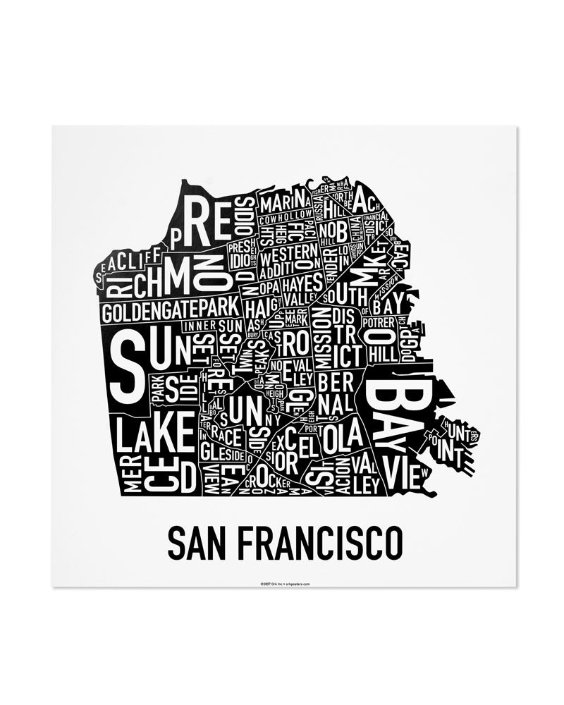 San Francisco Neighborhood Map 12 5 X 12 5 Classic Black White