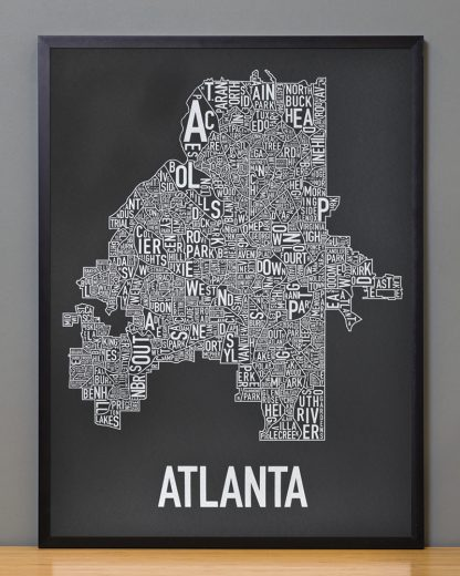 "Framed Atlanta Neighborhood Map Screenprint, 18"" x 24"", Black & Silver in Black Frame"