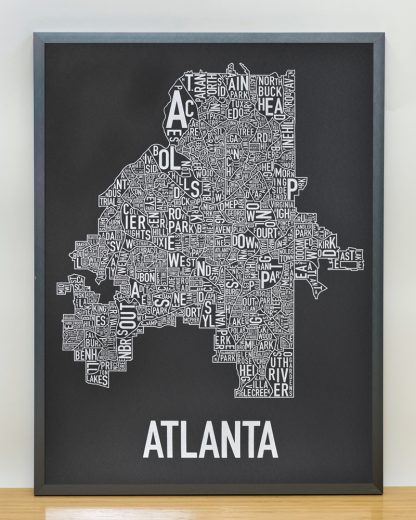 "Framed Atlanta Neighborhood Map Screenprint, 18"" x 24"", Black & Silver in Steel Grey Frame"