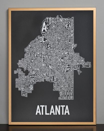 "Framed Atlanta Neighborhood Map Screenprint, 18"" x 24"", Black & Silver in Bronze Frame"