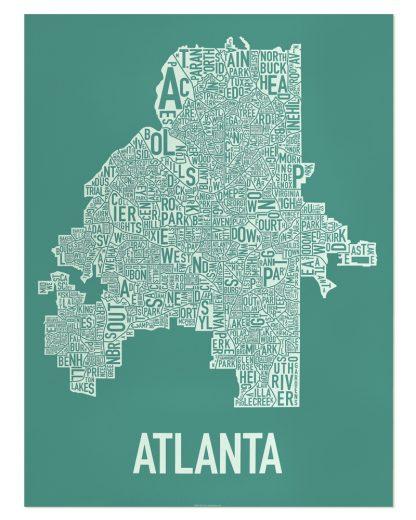 "Atlanta Neighborhood Map Screenprint, 18"" x 24"", Emerald Green & Ivory"