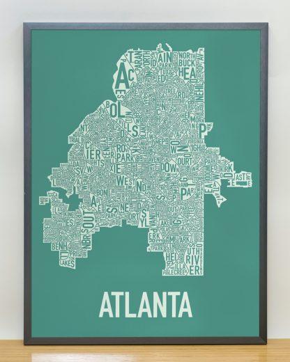 "Framed Atlanta Neighborhood Map Screenprint, 18"" x 24"", Emerald Green & Ivory in Steel Grey Frame"