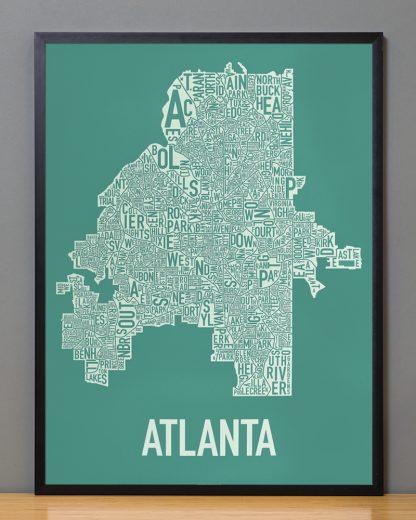 "Framed Atlanta Neighborhood Map Screenprint, 18"" x 24"", Emerald Green & Ivory in Black Frame"