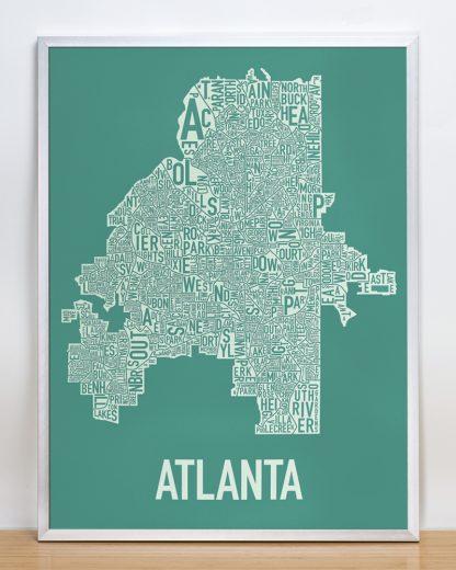 "Framed Atlanta Neighborhood Map Screenprint, 18"" x 24"", Emerald Green & Ivory in Silver Frame"