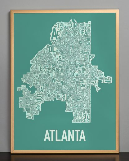 "Framed Atlanta Neighborhood Map Screenprint, 18"" x 24"", Emerald Green & Ivory in Bronze Frame"