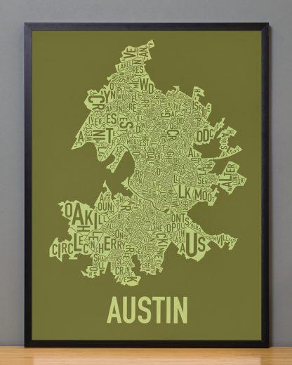 """Framed Austin Neighborhood Map Screenprint, 18"""" x 24"""", Green & Light Green in Black Frame"""