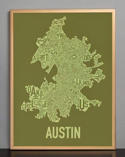 "Framed Austin Neighborhood Map Screenprint, 18"" x 24"", Green & Light Green in Bronze Frame"