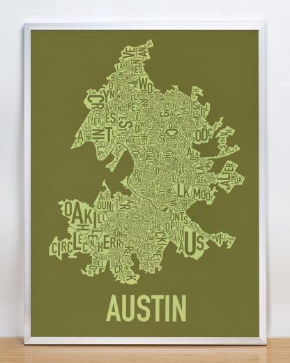 "Framed Austin Neighborhood Map Screenprint, 18"" x 24"", Green & Light Green in Silver Frame"