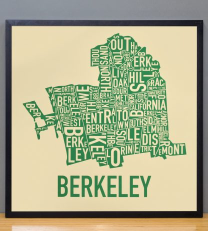 "Framed Berkeley Neighborhood Typography Map, Tan & Green, 18"" x 18"" in Black Frame"