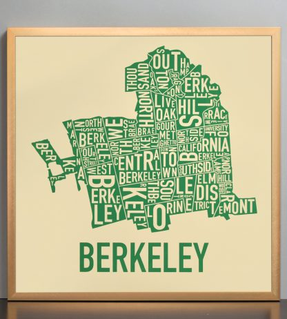 "Framed Berkeley Neighborhood Typography Map, Tan & Green, 18"" x 18"" in Bronze Frame"