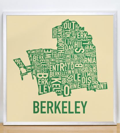 "Framed Berkeley Neighborhood Typography Map, Tan & Green, 18"" x 18"" in Silver Frame"