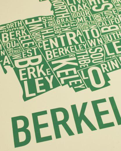 "Berkeley Neighborhood Typography Map, Tan & Green, 18"" x 18"""