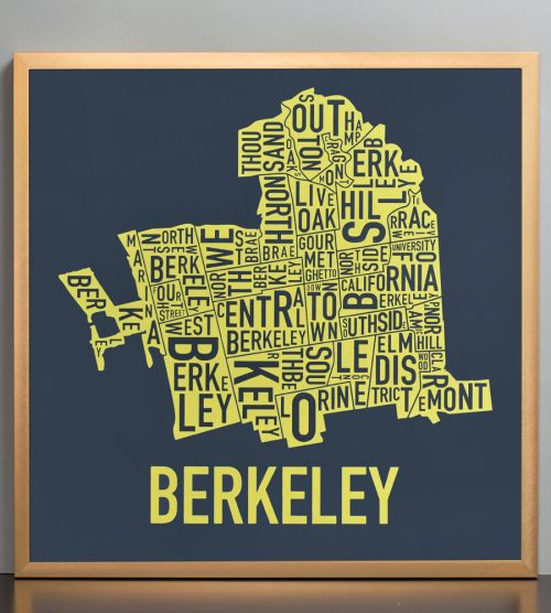 "Framed Berkeley Neighborhood Typography Map, Navy & Yellow, 18"" x 18"" in Bronze Frame"