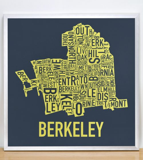 "Framed Berkeley Neighborhood Typography Map, Navy & Yellow, 18"" x 18"" in Silver Frame"