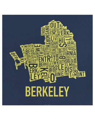 "Berkeley Neighborhood Map Screenprint, Blue & Yellow, 18"" x 18"""
