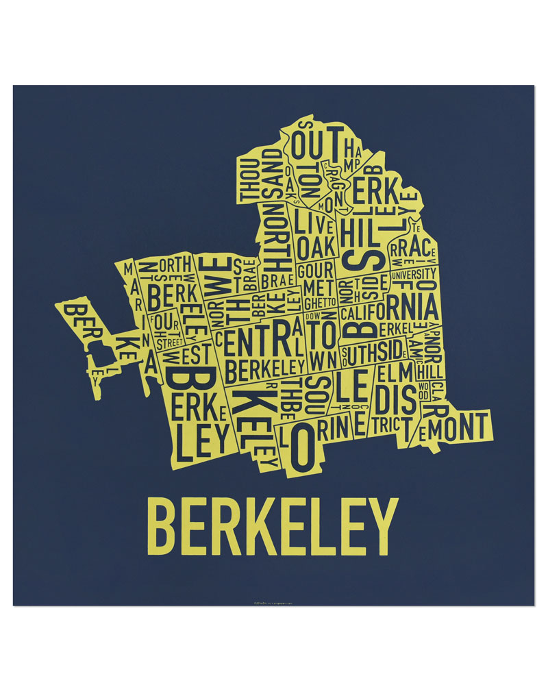 Map X.Berkeley Neighborhood Map 18 X 18 Bear Blue Screenprint