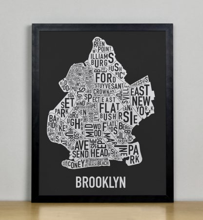 "Framed Brooklyn Neighborhood Map Screenprint, Black & White, 11"" x 14"" in Black Frame"